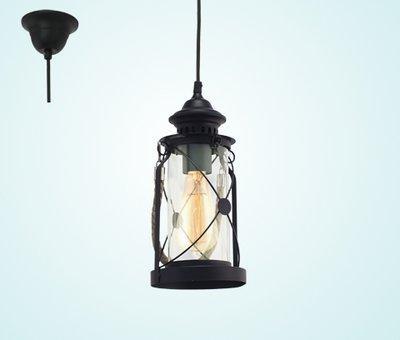 49213 Светильник подвес/1 EGLO E27  черный