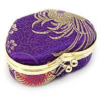 Шкатулка для украшений с зеркальцем фиолетовая (8х7х3,5 см)