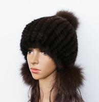 Женская норковая шапка с бубоном из лисы чёрная, фото 1