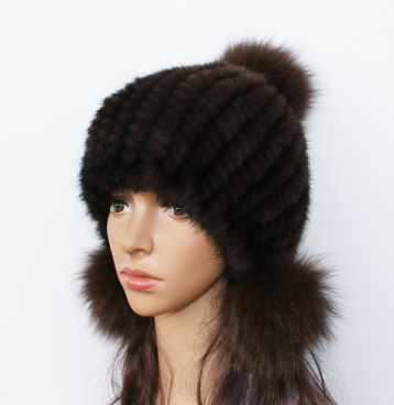 женская норковая шапка с бубоном из лисы чёрная цена 1 300 грн