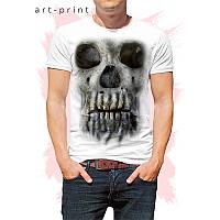 Футболка мужская белая рисунок 3D череп