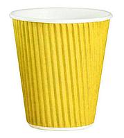 Стакан бумажный гофрированный 175мл желтый