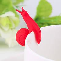 [ Держатель пакетиков улитка ] Цветная силиконовая улитка держатель для пакетика чая малиновый