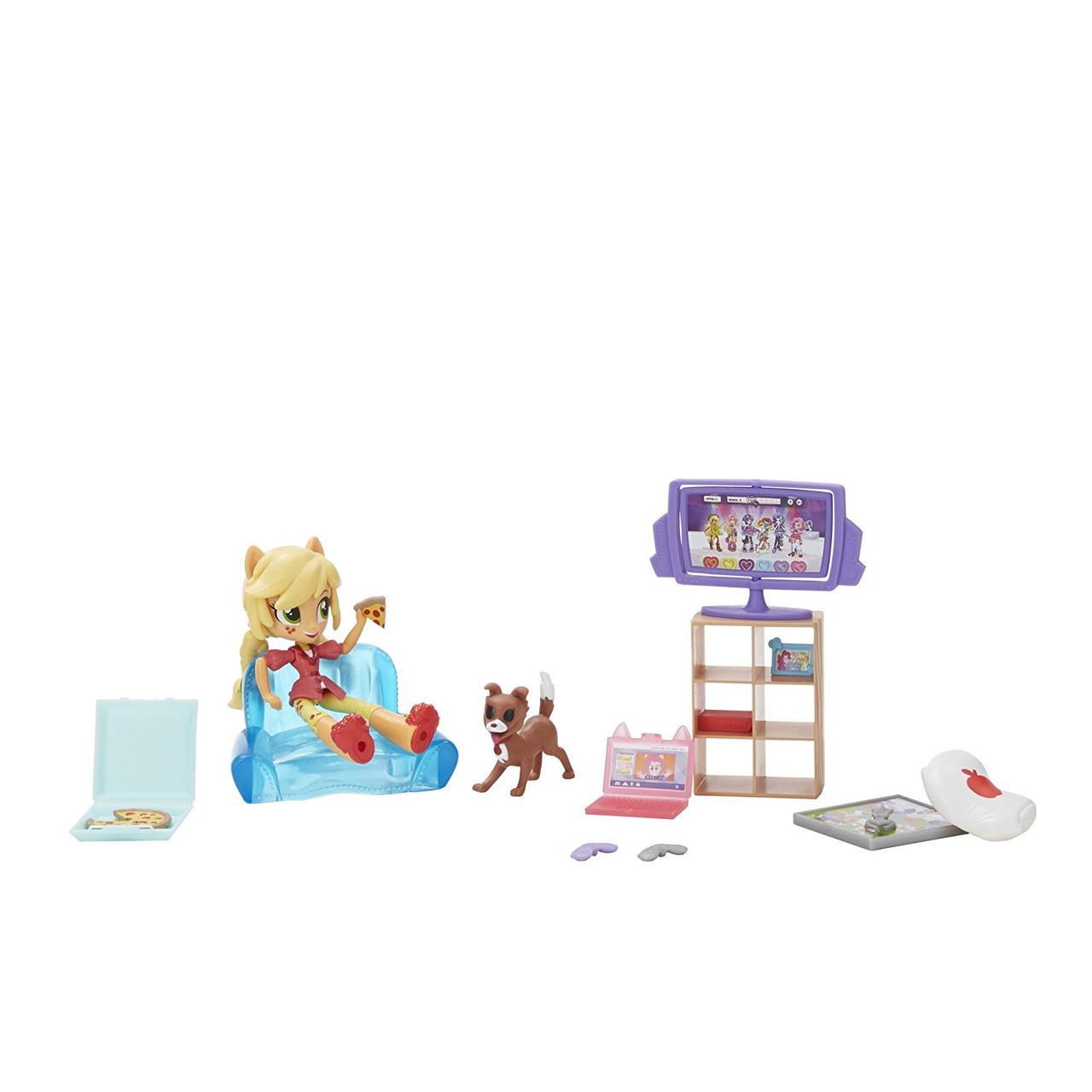 Игровой набор с куклой Эпплджек мини Пижамная вечеринка серия Мy Little Pony Equestria girls