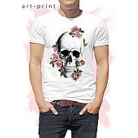Футболка мужская белая рисунок Череп цветы