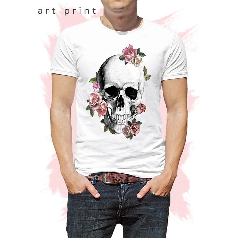 66fbea9d918c3 Футболка летняя мужская белая с принтом Череп Цветы - Печать на футболках,  тканях и одежде