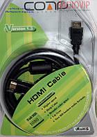 Шнур HDMI (шт.- шт.) диам.-7,3мм с фильтр., в блистере, 3,0м, чёрный