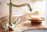 Смеситель кран золото в ванную комнату или на кухню для мойки раковины двухвентильный, фото 3