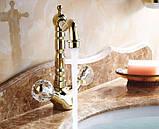 Смеситель кран золото в ванную комнату или на кухню для мойки раковины двухвентильный, фото 4
