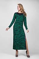 Вязанное женское платье с изысканной аппликацией из кожи бутылочное