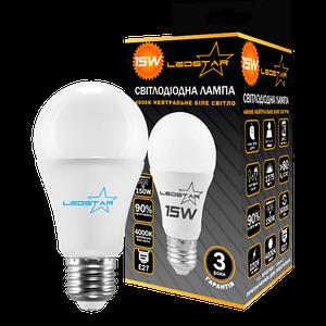 Светодиодная лампа LEDSTAR, 15W, E27, A60, 1275lm, груша, 4000К, матовая