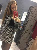 Стильный женский костюм, юбка и пиджак, ткань букле