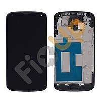 Дисплей LG Google Nexus 4 E960 с тачскрином в сборе, цвет черный, в рамке, большая микросхема