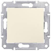 Выключатель одноклавишный проходной Schneider Electric Sedna 10А Слоновая кость SDN0400123