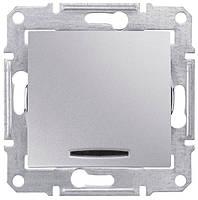 Выключатель двухполюсный одноклавишный с красной индикацией Schneider Electric Sedna 10А Алюминий SDN0201160