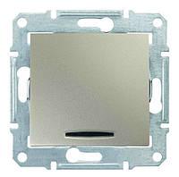 Выключатель одноклавишный с синей подсветкой Schneider Electric Sedna 10А Титан SDN1400168