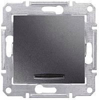 Выключатель одноклавишный проходной с синей подсветкой Schneider Electric Sedna 10А Графит SDN1500170