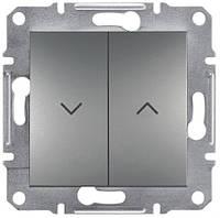 Выключатель двухклавишный для жалюзи с самовозвратом 10А Schneider Electric Asfora Сталь EPH1300162