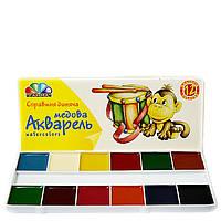 Акварель медовая Гамма 12 цветов картонная коробка