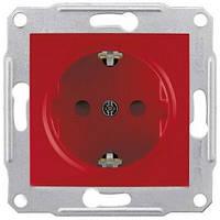 Розетка с заземляющим контактом и защитными шторками 16А Schneider Electric Sedna Красный SDN3000341
