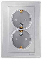 Розетка двойная с заземляющим контактом и защитными шторками 16А Schneider Electric Sedna Алюминий SDN3000460