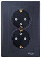 Розетка двойная с заземляющим контактом и защитными шторками 16А Schneider Electric Sedna Графит SDN3000470