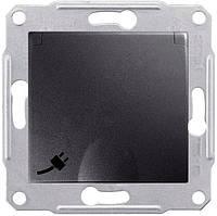 Розетка с крышкой, заземляющим контактом и защитными шторками IP20 16А Schneider Electric Sedna Графит SDN3100170
