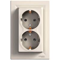 Розетка двойная с заземляющим контактом 16А Schneider Electric Asfora Кремовый EPH9900123