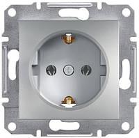 Розетка с заземляющим контактом 16А Schneider Electric Asfora Алюминий EPH2900161