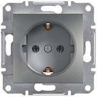Розетка с заземляющим контактом 16А Schneider Electric Asfora Сталь EPH2900162