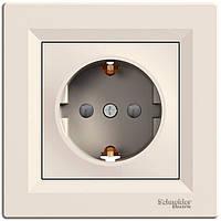Розетка с заземляющим контактом и защитными шторками 16А Schneider Electric Asfora Кремовый EPH2900223