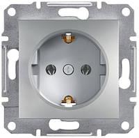 Розетка с заземляющим контактом и защитными шторками 16А Schneider Electric Asfora Алюминий EPH2900261
