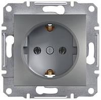 Розетка с заземляющим контактом и защитными шторками 16А Schneider Electric Asfora Сталь EPH2900262