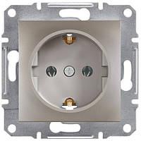 Розетка с заземляющим контактом и защитными шторками 16А Schneider Electric Asfora Бронза EPH2900269