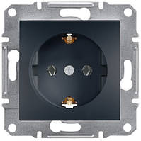 Розетка с заземляющим контактом и защитными шторками 16А Schneider Electric Asfora Антрацит EPH2900271