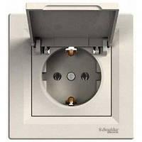 Розетка с крышкой и заземляющим контактом IP20 16А Schneider Electric Asfora Кремовый EPH3100123