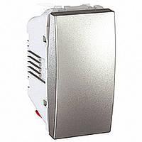 Выключатель одноклавишный 1 модуль Schneider Electric Unica 10А Алюминий MGU3.101.30