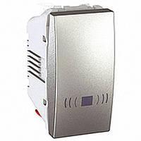 """Выключатель одноклавишный кнопочный """"Звонок"""" 1 модуль Schneider Electric Unica 10А Алюминий MGU3.106.30C"""