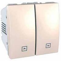 Выключатель для жалюзи нажимной 2 модуля 10А Schneider Electric Unica Слоновая кость MGU3.207.25