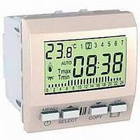 Термостат программируемый для кондиционера или отопления 8А НО+НЗ 2 модуля Schneider Electric Unica Слоновая кость MGU3.505.25