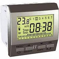 Термостат программируемый для кондиционера или отопления 8А НО+НЗ 2 модуля Schneider Electric Unica Алюминий MGU3.505.30