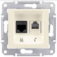Розетка компьютерная RJ45 cat5e UTP + телефонная RJ11 Schneider Electric Sedna Слоновая кость SDN5100123