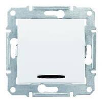 Выключатель одноклавишный проходной с синей подсветкой Schneider Electric Sedna 16A Белый SDN1500221