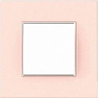 """Рамка одноместная Schneider Electric Unica Quadro """"Pearl"""" Розово-жемчужный MGU4.702.37"""