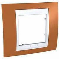 Рамка одноместная Schneider Electric Unica Plus Оранжевый/Слоновая кость MGU6.002.569