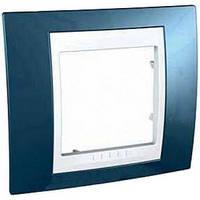 Рамка одноместная Schneider Electric Unica Plus Голубой лед/Белый MGU6.002.854
