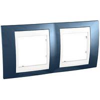 Рамка двухместная Schneider Electric Unica Plus горизонтальная Голубой лед/Белый MGU6.004.854