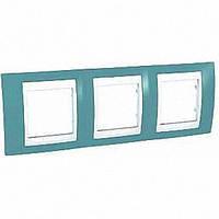 Рамка трехместная Schneider Electric Unica Plus горизонтальная Синий/Белый MGU6.006.873