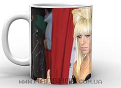 Кружка Леди Гага бантик белая