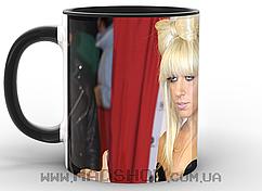 Кружка Леди Гага бантик черная